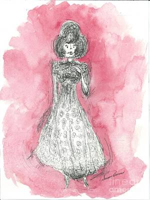 Watercolor With Pen Mixed Media - Grand Lady by Susan Harris
