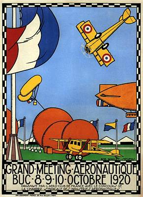 Royalty-Free and Rights-Managed Images - Grand Meeting Aeronautique - French Airshow - Retro Aviation Poster - Vintage Poster by Studio Grafiikka