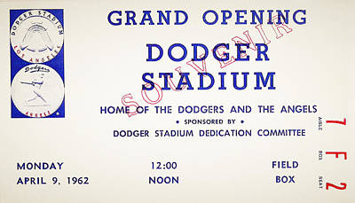 Baseball Photograph - Grand Opening Dodger Stadium Ticket Stub 1962 by Bill Cannon