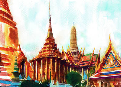 Bangkok Painting - Grand Palace Wat Phra Kaew  by Vya Artist