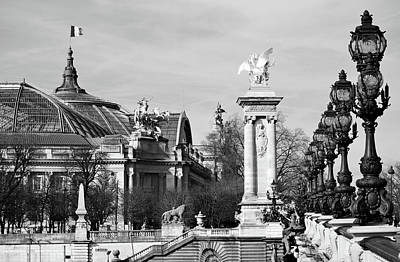 Photograph - Grand Palais Flag And Entrance From Pont Alexandre IIi Bridge Paris France Black And White by Shawn O'Brien