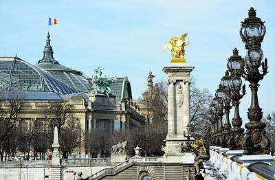 Photograph - Grand Palais Flag And Entrance From Pont Alexandre IIi Bridge Paris France by Shawn O'Brien