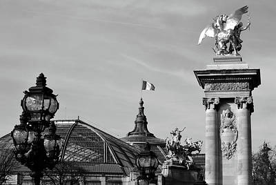 Photograph - Grand Palais Flag And Statues From Pont Alexandre IIi Bridge Paris France Black And White by Shawn O'Brien
