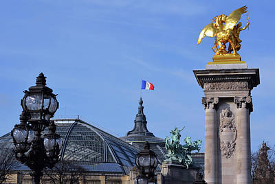 Photograph - Grand Palais Flag And Statues From Pont Alexandre IIi Bridge Paris France by Shawn O'Brien