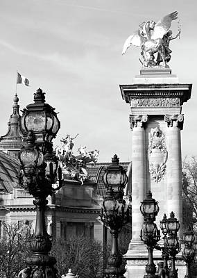 Photograph - Grand Palais Flag Pont Alexandre IIi Vintage Light Posts And Column Paris France Black And White by Shawn O'Brien