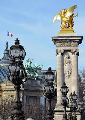 Photograph - Grand Palais Flag Pont Alexandre IIi Vintage Light Posts And Column Paris France by Shawn O'Brien