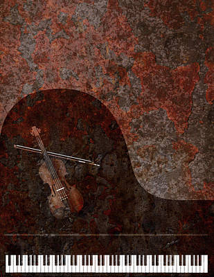 Digital Art - Grand Piano And Violin Grunge Background by Jit Lim