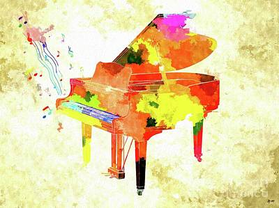Mixed Media - Grand Piano by Daniel Janda