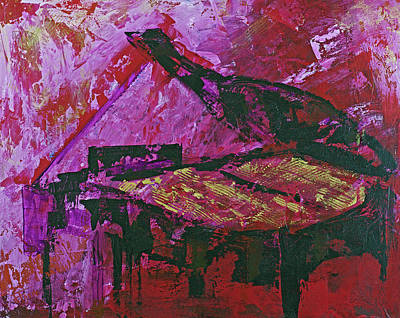 Painting - Grand Piano In Red Room by Walter Fahmy