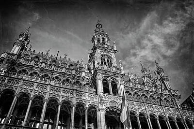 Bnw Photograph - Grand Place Architecture Brussels  by Carol Japp