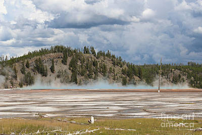 Mountain Photograph - Grand Prismatic Basin Steam I by Kathleen Garman