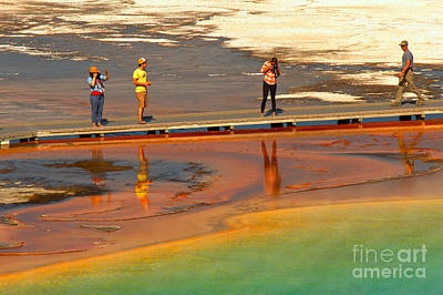 Photograph - Grand Prismatic Hikers by Adam Jewell