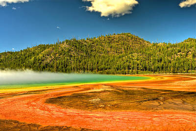 Photograph - Grand Prismatic Spring by Don Mercer