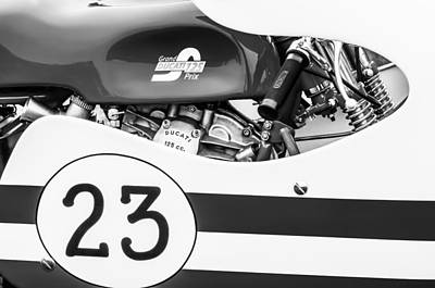 Photograph - Grand Prix Ducati 125 Motorcycle -2109bw by Jill Reger