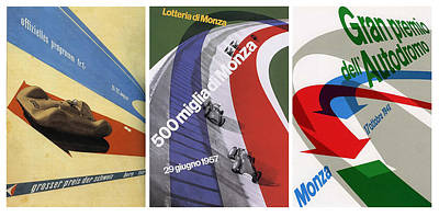 Grand Prix Trio - Le Mans - Monza Art Print