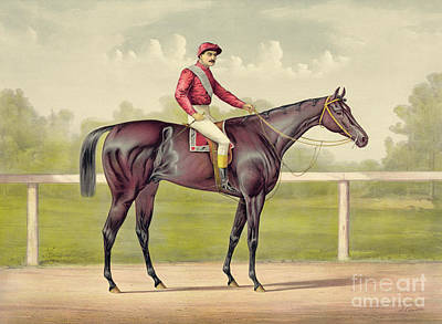 Horse Portrait Drawing - Grand Racer Kingston by Currier and Ives