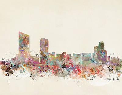 Colourfull Painting - Grand Rapids City by Bleu Bri