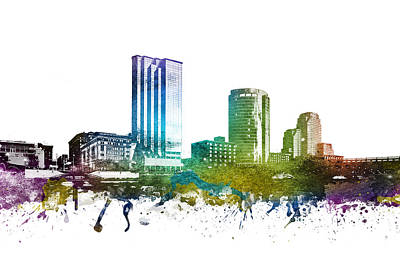 Towns Digital Art - Grand Rapids Cityscape 01 by Aged Pixel