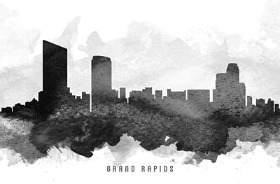 Towns Digital Art - Grand Rapids Cityscape 11 by Aged Pixel