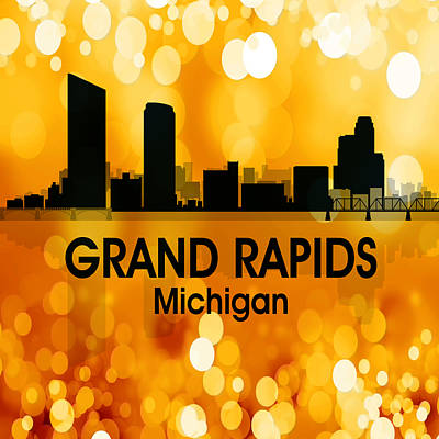 Rapid Mixed Media - Grand Rapids Mi 3 Squared by Angelina Vick