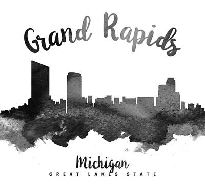 Grand Rapids Painting - Grand Rapids Michigan Skyline 18 by Aged Pixel