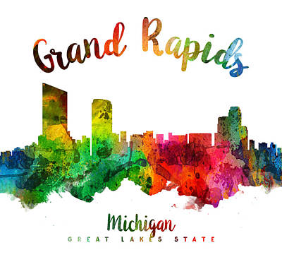 Grand Rapids Painting - Grand Rapids Michigan Skyline 24 by Aged Pixel
