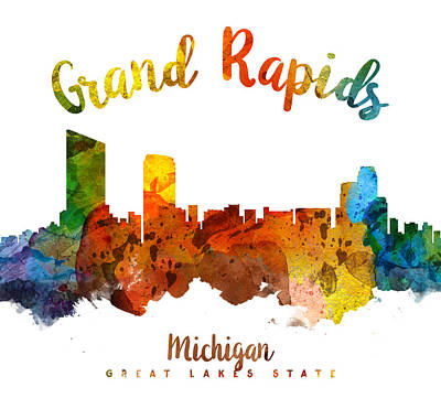 Grand Rapids Painting - Grand Rapids Michigan Skyline 26 by Aged Pixel