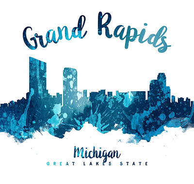 Towns Digital Art - Grand Rapids Michigan Skyline 27 by Aged Pixel