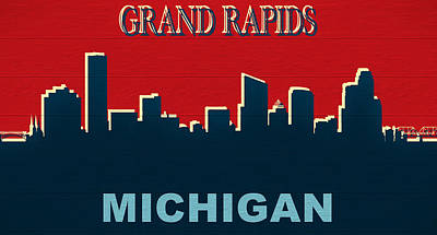 Rapid Mixed Media - Grand Rapids Michigan Skyline Rustic by Dan Sproul