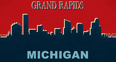 Mixed Media - Grand Rapids Michigan Skyline Rustic by Dan Sproul