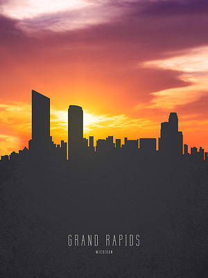 Grand Rapids Painting - Grand Rapids Michigan Sunset Skyline 01 by Aged Pixel