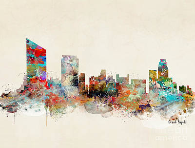 Grand Rapids Painting - Grand Rapids Skyline by Bri B
