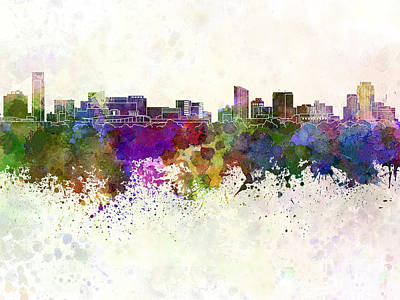 Grand Rapids Painting - Grand Rapids Skyline In Watercolor Background by Pablo Romero