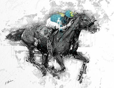 Race Horse Digital Art - American Pharoah Grand Slam 15 by Gary Bodnar
