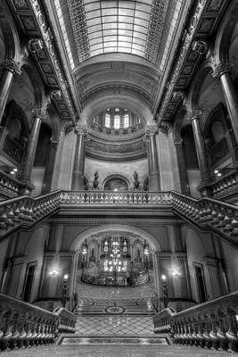 Grand Staircase Illinois State Capitol B W Art Print