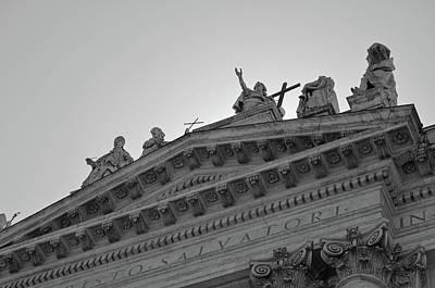 Photograph - Grand Statuary Of Basilica San Giovanni In Laterano Rome Italy Black And White by Shawn O'Brien