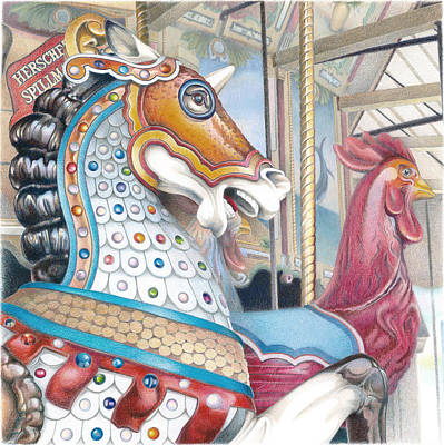 Merry-go-round Drawing - Grand Strand War Horse by Todd Baxter