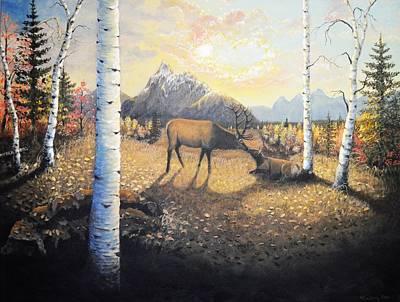 Grand Teton Autumn Elk Original