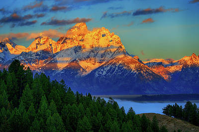 Photograph - Grand Teton Alpenglow by Greg Norrell