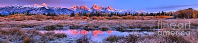 Photograph - Grand Teton Fall Panoramic Sunrise by Adam Jewell