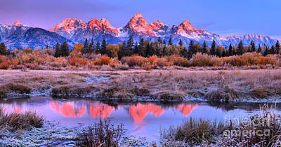Photograph - Grand Teton Frosty Fall Sunrise by Adam Jewell