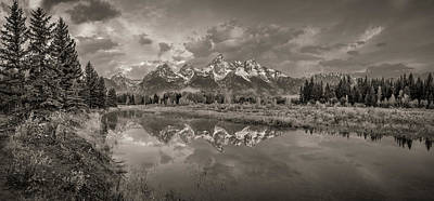 Photograph - Grand Teton Monochromatic Panoramic by Scott McGuire