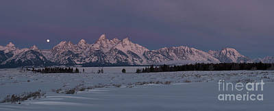 Photograph - Grand Teton Moonset II by Sandra Bronstein