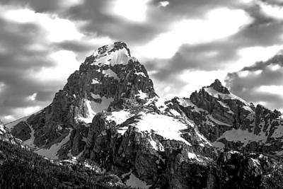 Photograph - Grand Teton Mountains In Black And White by Dan Sproul