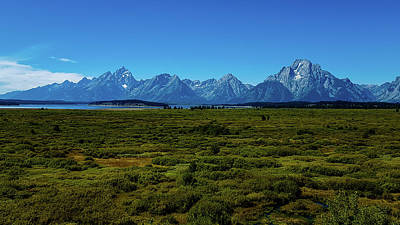 Photograph - Grand Teton Mountains With Distant Lake by Marilyn Burton