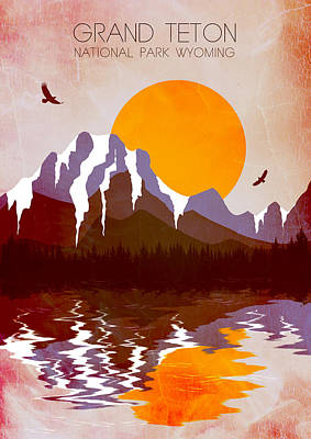 Modern Landscape Painting - Grand Teton National Park 2 - By Diana Van by Diana Van