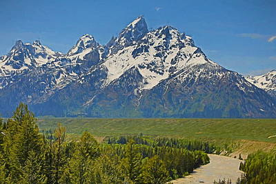 Mountain Mixed Media - Grand Teton National Park And Snake River by Dan Sproul