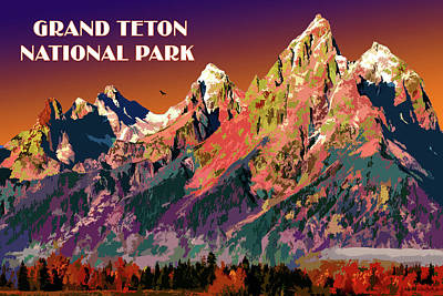 Digital Art - Grand Teton National Park by Chuck Mountain