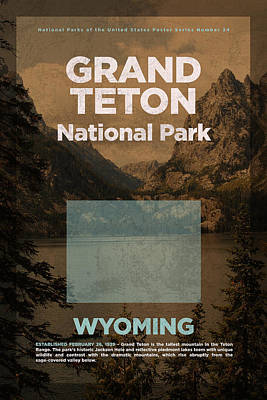 Teton Mixed Media - Grand Teton National Park In Wyoming Travel Poster Series Of National Parks Number 24 by Design Turnpike