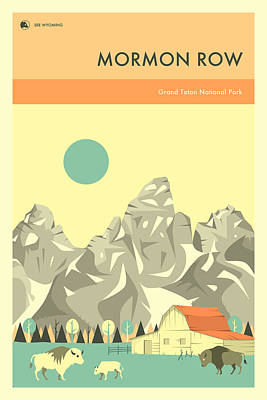 Grand Tetons Wall Art - Digital Art - Grand Teton National Park - Mormon Row by Jazzberry Blue